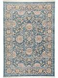 benuta Vintage Teppich im Used-Look Safira Blau 100x156 cm | Moderner Teppich für Schlafzimmer und Wohnzimmer