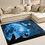 ZZKKO Animal Bereich Teppich Teppich, Wolf, gegen EIN Blau-Sterne Sky mit Full Moon Boden Teppich Matte für Schlafzimmer Living Wohnheim Zimmer Küche, Multi, 5'x7'(150x200 cm)