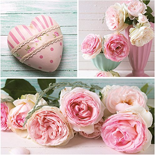 Servietten Napkins 33x33cm 20St. Packg. Serviettentechnik Romantik Rosen Herz rosa