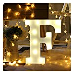 Cocity Alphabet Letter Lights LED Light Up White Plastic Letters Standing Hanging for Home Party Holiday Decoration...