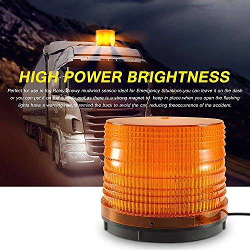 Appow 72 LED Rundumleuchte Warnleuchte Blinkleuchte Warnlicht Alarm Licht, Mit Magnetfuß, Zigarettenanzunderstecker 12V / 24V