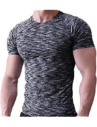 aaba908d20 Musclealive Hombres Apretado Compresión Capa Base Manga Corta Camiseta  Culturismo Tops Poliéster ...
