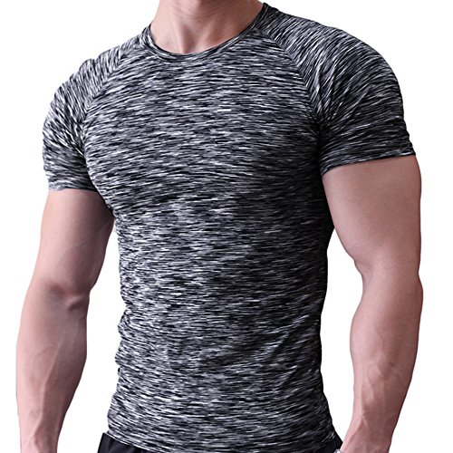 Musclealive Herren Fest Kompression Grundschicht Kurzarm T-Shirt Bodybuilding Tops Polyester und Spandex (Layer Lightweight Top Base)