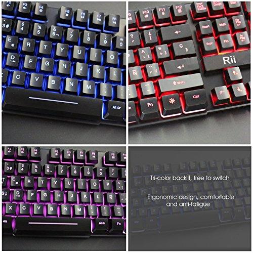 Rii RK100 Teclado Gaming, Teclado de Membrana con sensibilidad mecánica, USB LED Retroiluminado Ideal para Jugar,  Trabajos de Oficina