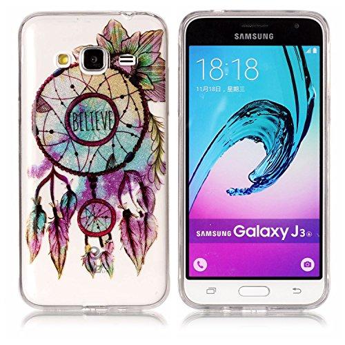 Coque Galaxy J7 2016,Transparent Housse Etui Couverture pour Samsung Galaxy J7 2016,Ekakashop Ultra Mince Slim-fit imprimée Coque de Protection en Hybrid Crystal Clear PC Plastique Silicone Arrière Co Fleur Campanule