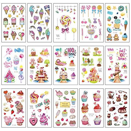 Szsmart dessert tatuaggi temporanei per bambini, falso tatuaggi temporaneo tattoos adesivi per bambini festa di compleanno bomboniera bambine sacchetti regalo giocattolo 15 fogli