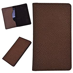 DCR Pu Leather case cover for Celkon A407 (brown)