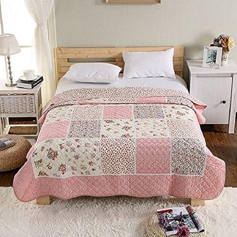 Alicemall Couvre lit boutis Courtepointe boutis Couette imprimé 1 personne en coton Plaid Parure de lit Couverture 150*200cm Quilted Patchwork Bedspread Summer Quilt Girls Single Bed Set(14)