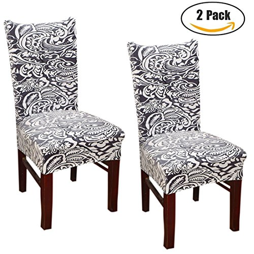 Pinji 2PCS Stretch Thicken Chair Covers Slipcovers Removable Seat Protector for Hotel Restaurant Wedding Party Home Dining Room White &Grey