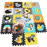 MQIAOHAM Puzzle Play Mat Interlocking Puzzle Pieces Promover Visual Sensory Development Soft Baby Floor Mat 18 fichas con imágenes animadas de Animales para capturar la atención de los niños 010011