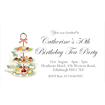 40 Personalised Magnetic Afternoon Tea Party Invitations For 18th 21st 30th 40th
