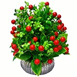 #2: PG Creations Artificial Flowers with Vase For Office | Home Decoration, Cherry, Red, Medium, Set of 1