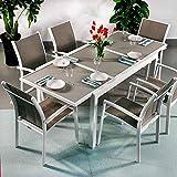 Daisy Tisch und 6 Georgia Stühle - WEIß & CHAMPAGNERFARBEN | Ausziehbarer 200cm Esstisch mit passenden Stühlen
