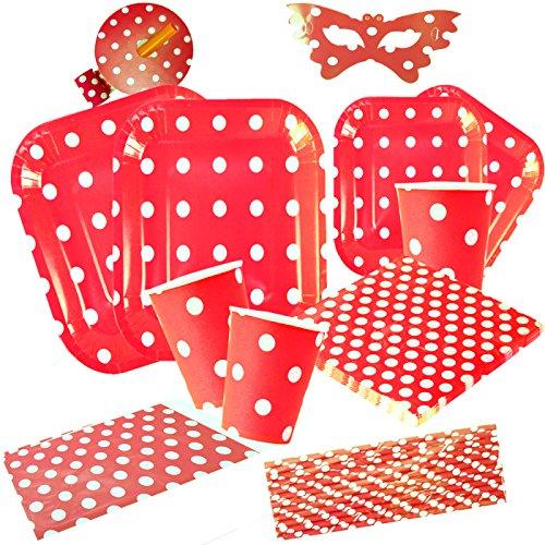 cotigo Set de Vajilla Desechables para Fiesta de Cumpleaños,Platos,Vasos,Servilletas, Mantel, Pajitas,Diseño Lunares,Color Rojo,Para 16 Personas