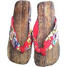 Azbro Mujer Sandalias Geta Zuecos de Madera Tradicional Japonesa Zapatilla