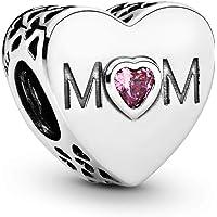 Pandora Moments Rosafarbenes Mum-Herz Charm Sterling Silber 791881PCZ
