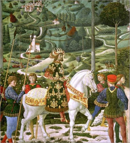 Holzbild 70 x 80 cm: John VII Palaeologus , Eastern Roman Emperor, as one of the Three Kings, detail from the Journey of von Benozzo di Lese di Sandro Gozzoli (Renaissance Männliche Kostüm)