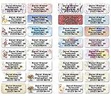 Mix gemischt Adress-Etiketten - Adress-Aufkleber Sticker mit Ihrem Wunschtext 53x 21mm, für 1 bis 5 Zeilen Text - 110 Stück - 38 Hintergründe zur Auswahl Etiketten