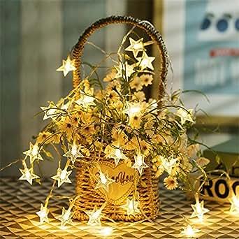 4m LED 2 Modalità stella di Natale Stringa Luci Con Batteria Natale Luci Matrimonio Festa Finestra Casa Luci Decorazioni (Bianco)