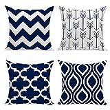 HuifengS New Living Series color motivo geometrico decorativo tiro federa cuscino per divano, divano o letto 45,7x 45,7cm 45cm x 45cm set di 4 Navy Blue-4