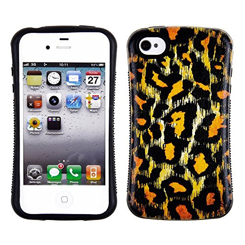 CHEETAH Hounds Design Apple iPhone 4, 4S AT & T. Verizon, Sprint, C Spire iFace schwere Dual Layer schwarz Bumper stoßfest Hybrid TUFF Combo Rugged Body Armor Defender Triple Layer stoßfest Fall Hard Phone Sony Tuff Combo Rugged Body Armor Defender Triple Layer stoßfest Case Cover Gummiert Touch Blenden (Iphone 4 Body Armor Hybrid Case)