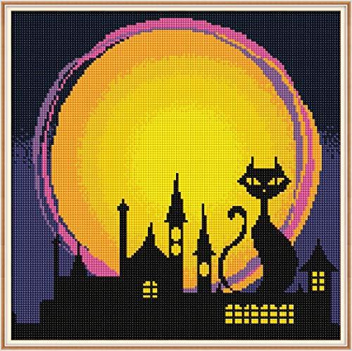 t Malerei by Number Kit, Bohrer Kreuzstich Kit Handwerk Wandaufkleber für Wohnzimmer Dekoration, Halloween Nacht (35x35 cm / 14x14 Zoll) ()