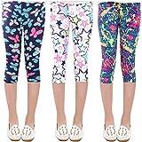 Oyoden Fille Leggings Pantalons à Fleurs 3/4 Crayon Collant Enfants Taille élastique pour 3-10 Ans, 3 Paquet