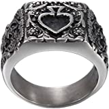 NA Men's Stainless Steel Retro Flower Pattern Relief Sculpture Ring Ace of Spades Poker Card Band