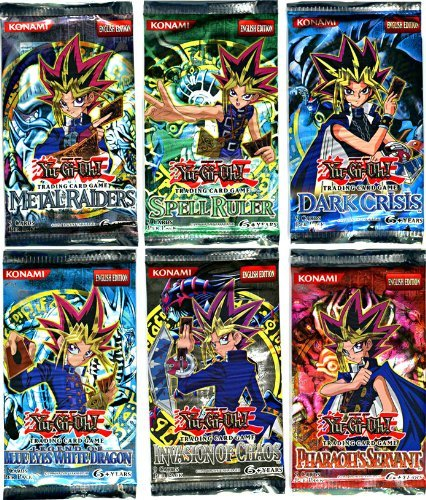YuGiOh Card Game Lot of 6 Booster Packs Legend Blue Eyes White Dragon, Metal Raiders, Spell Ruler, Invasion of Chaos, Pharaohs Servant Dark Crisis by - Dragon Metal Dark