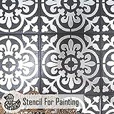 VALENCIA FLIESE Wand Möbel Fußboden Schablone für Malerei - Mittel