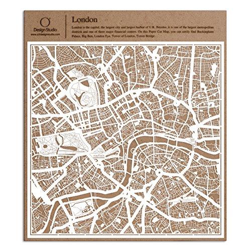 London Scherenschnitt Karte, Weiß 30x30 cm Papierkunst