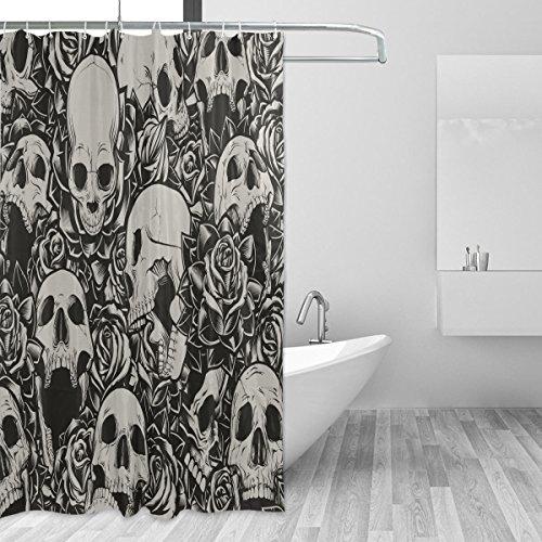 Cortinas de ducha impermeable resistente al moho, diseño de calavera a prueba de molde cortina de baño lavable con Durable ganchos para accesorios de baño 66x 72inch (168cm x 183cm)