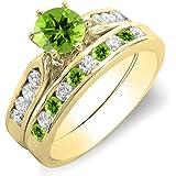 DazzlingRock Collection - Juego de Anillos de Compromiso de Oro de 10 K con Diamante Blanco y peridoto Redondo para Mujer con