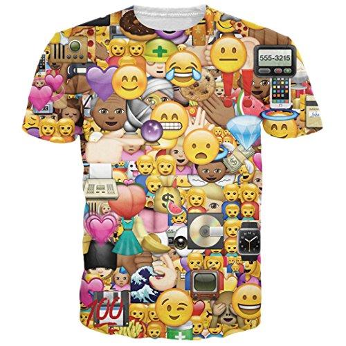 emoji tshirt Leapparel Unisex 3D Emoji Gesichts Druck Sommer Mannschaft Ansatz Grafik T-Shirts Kleidung M