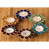Narual Handicrafts Designer Crystal Candle Holder (Set Of 6 Pcs, Color: Multicolor)