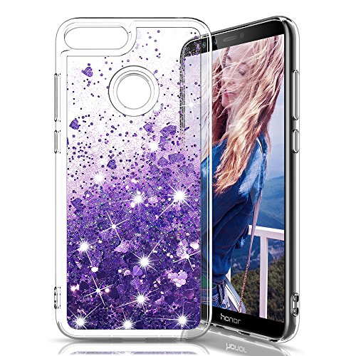 MASCHERI Cover per Huawei Honor 10 Lite/P Smart 2019, Glitter Liquido Brillantini Scintillante Cristallo Silicone Protettiva Telefono Custodia per Huawei Honor 10 Lite/P Smart 2019 - Porpora