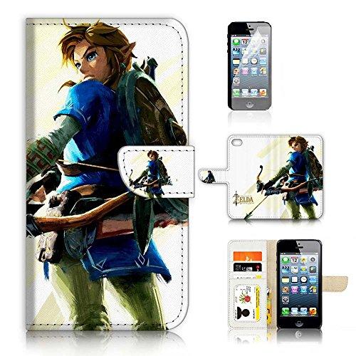 (für iPhone 55S/iPhone SE) Flip Schutzhülle Bundle Hülle & Displayschutzfolie, A21401Legend of Zelda - Flip-telefon Fall Iphone