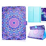 SOUNDMAE iPad Air 2 Smart Case with Stand, Colorful Mandala Creative Folio Case, Fashion Ultra Slim PU Leather Series Card Slots&Cash Pouch Cover for iPad Air 2 2014 Release (iPad 6), Navy