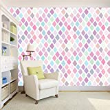 #4: 100yellow Wallpaper small triangle Pattern with pink colour (Self Adhesive) Peel and Stick Waterproof HD Wallpaper For Living/Drawing room, Kitchen, Girls room, bedroom Stylish,- 5.5 SqFt