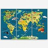 """ge-Bildet® hochwertiges Leinwandbild XXL """"Weltkarte für Kinder - Dunkelblau"""" bild für kinderzimmer - Premium Leinwanddruck 120 x 80 cm mehrteilig ( 3 teilig ) 2202 L"""