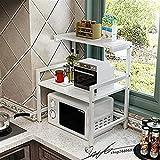 Udane ✌Zuhause Lager Gestell Küche Mikrowellenherd Racks 2-Schicht Ofen Racks Reiskocher Racks Lagerregale Höhenverstellbar Design (Farbe: A) (Farbe : C)