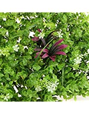 Eurotex Artificial Grass Mat for Balcony Wall, Garden, Home Decor, Green Grass Leaf with Red, Purple & White Flowers (PE, 2 Panel,Size 40x60cm, 2.6 sqft/Panel, Green Red, Purple & White Flowers)