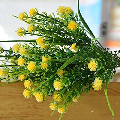 joyliveCY 1AST Kleine künstliche Pflanzen Gras Fake Floral Kunststoff Seide Eukalyptus Blumen für Tisch Decor gelb