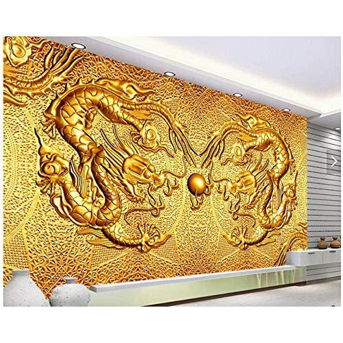 Mrlwy golden dragon 3d carta da parati murale, soggiorno tv divano parete camera da letto cucina ristorante bar carte da parati decorazioni per la casa-280x200cm