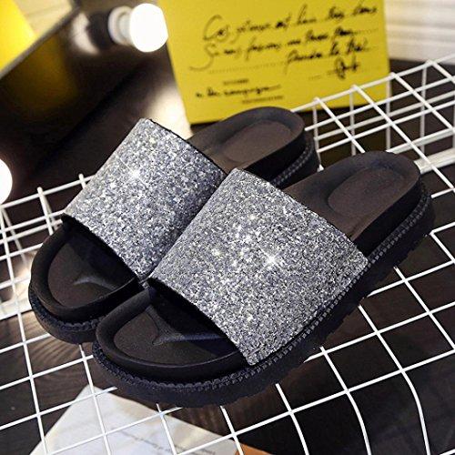 Chaussons dété pour femme Brillant Paillettes Sandales, QinMM mode loisir romain Chaussures Argent