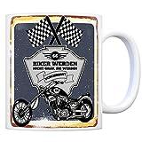Motorradfahrer und Biker Kaffeebecher bzw. Tasse zum 66. Geburtstag als Geschenk
