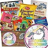 Herzlichen Glückwunsch Einhorn | Schokoladen Paket | Geschenk Ideen | Herzlichen Glückwunsch Einhorn | Schokoladenbox | Einhorn Party | INKL DDR Kochbuch