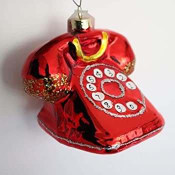 Amazon De Inge Glas Christbaumschmuck Retro Telefon 9 7cm