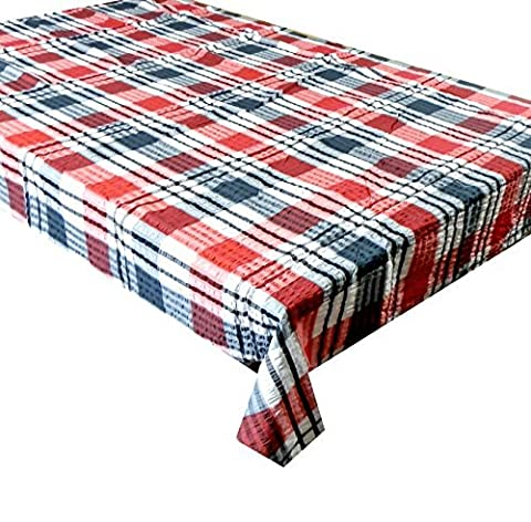 65 INCH ROUND RED / BLACK CHECK SEERSUCKER TABLECLOTH, 4-6 SEATER SIZE. 100% COTTON, NON IRON, LOVELY TRADITIONAL KITCHEN TABLE CLOTH by linen702