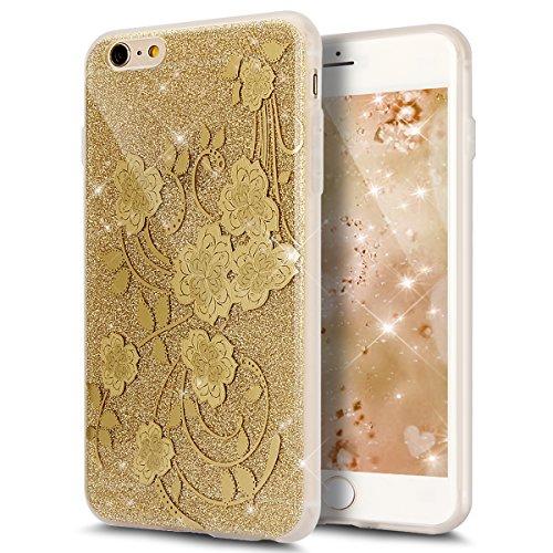 Cover iPhone 6S Plus,Cover iPhone 6 Plus, ikasus® iPhone 6S Plus / 6 Plus Case Custodia Cover [Hard PC + TPU] Protettiva Trasparente con il modello che scorre copertura dura di plastica trasparente Cu doro Fiore #2
